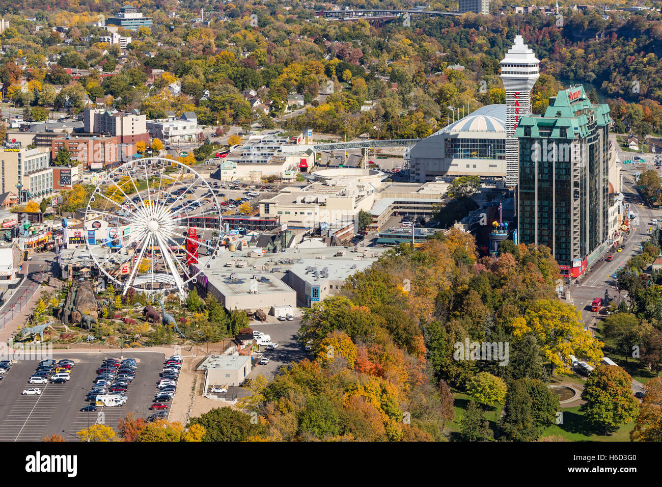 Aerial view of the Clifton Hill district of Niagara Falls, Ontario, Canada. - Stock Image