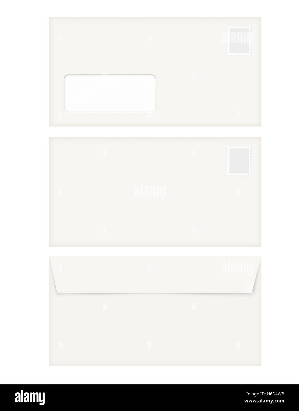 isolated empty window envelope template with the stamp stock photo