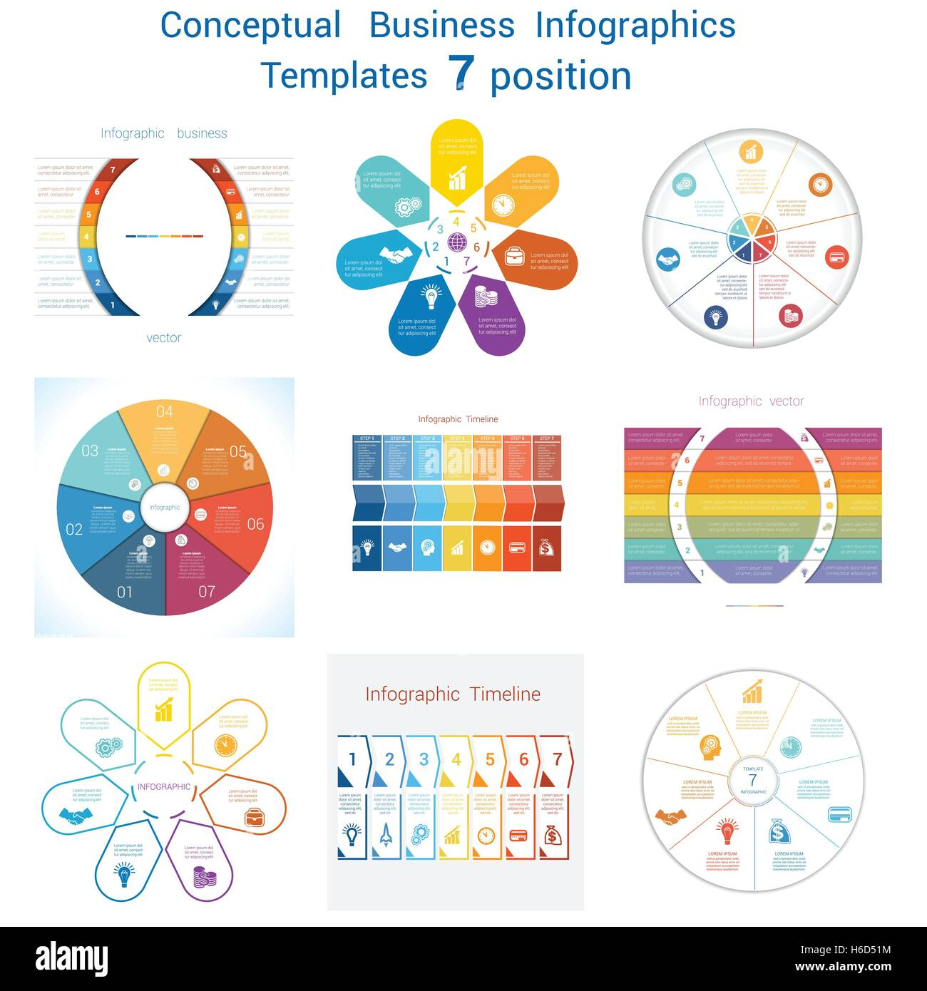 template for infographics seven positions stock photos template