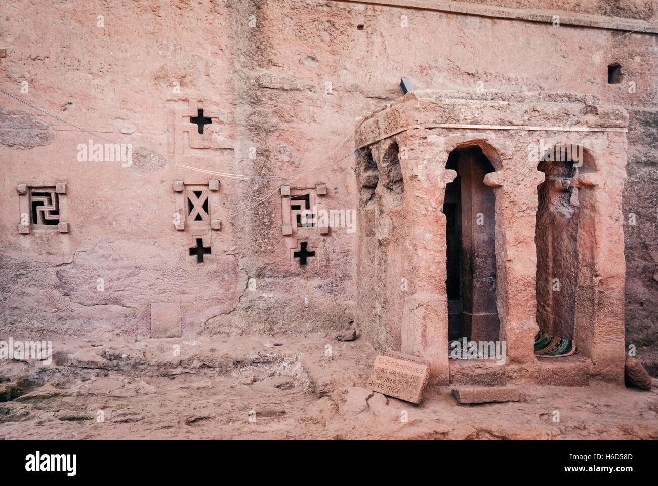 famous ancient ethiopian orthodox christian rock hewn churches of lalibela ethiopia - Stock Image