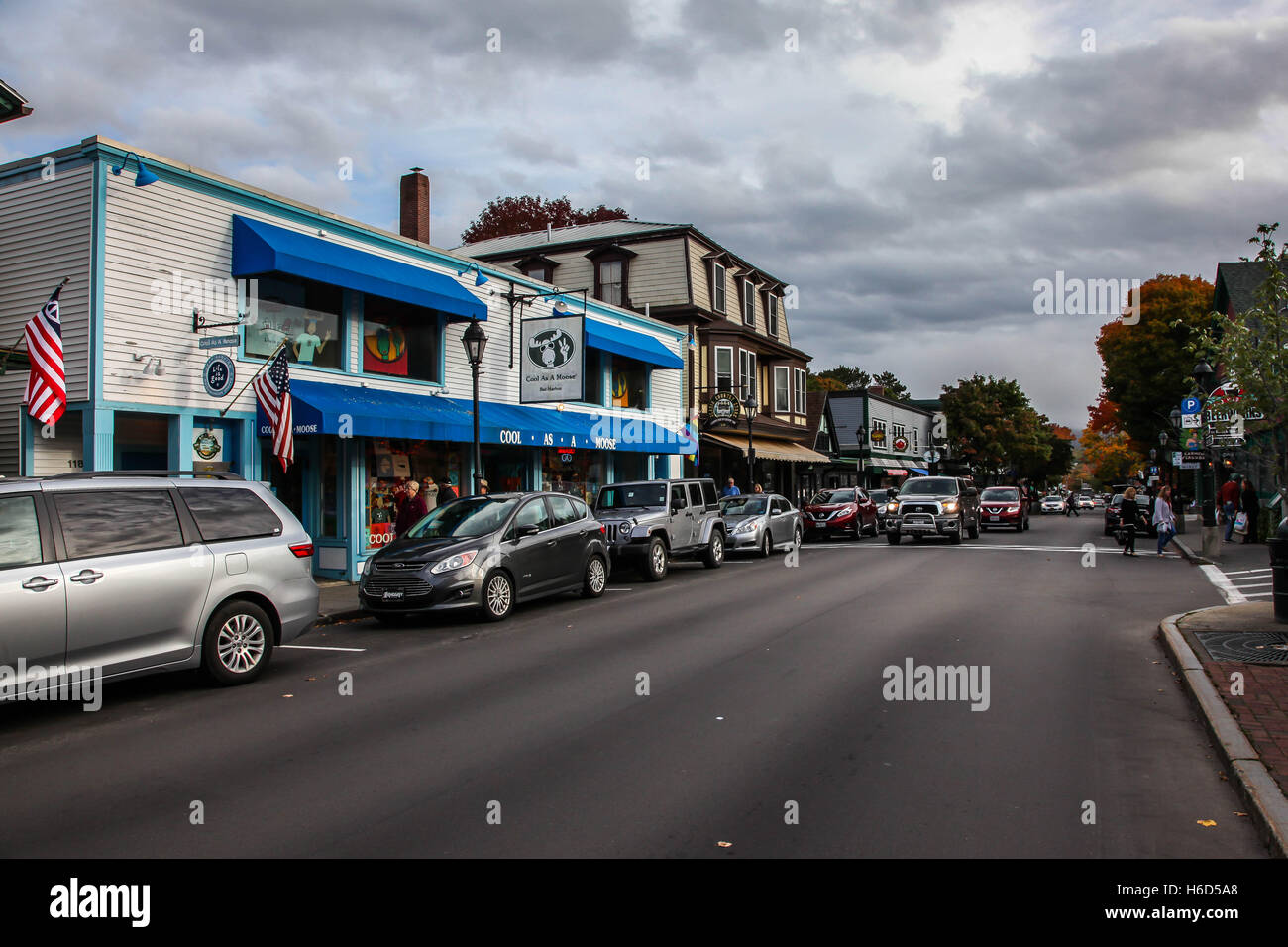 Bar Harbor downtown during Autumn season, Main Street view in Bar Harbor on October - Stock Image