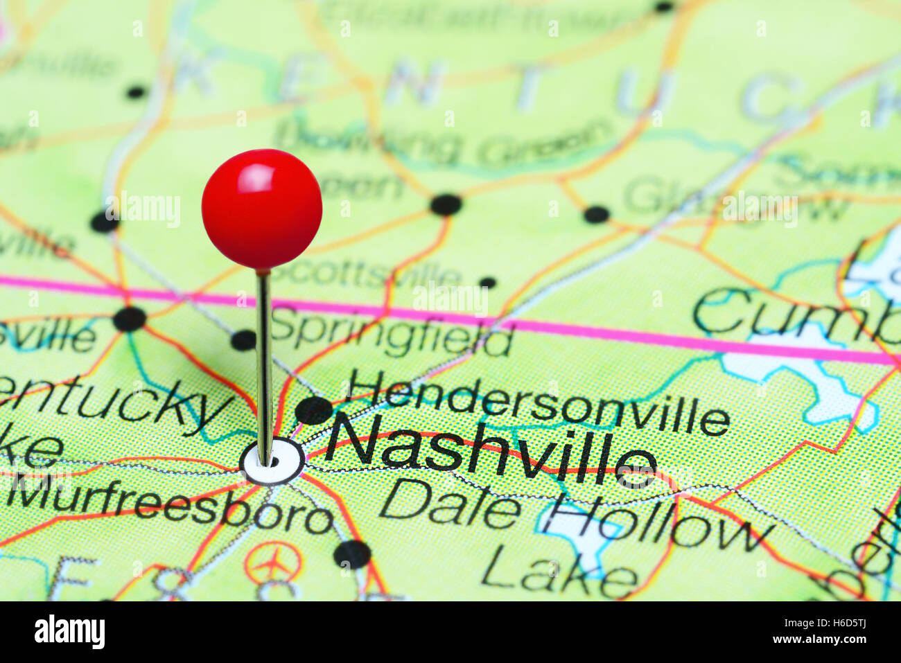 Nashville pinned on a map of Tennessee, USA Stock Photo: 124450498 ...