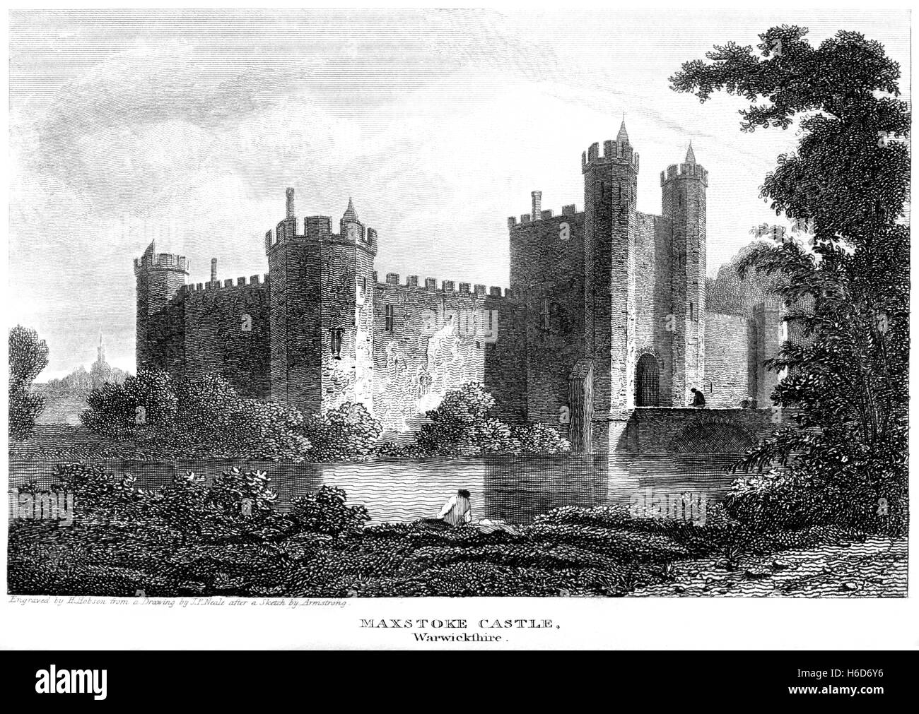 An engraving of Maxstoke Castle, Warwickshire scanned at high resolution from a book printed in 1812. Believed copyright - Stock Image