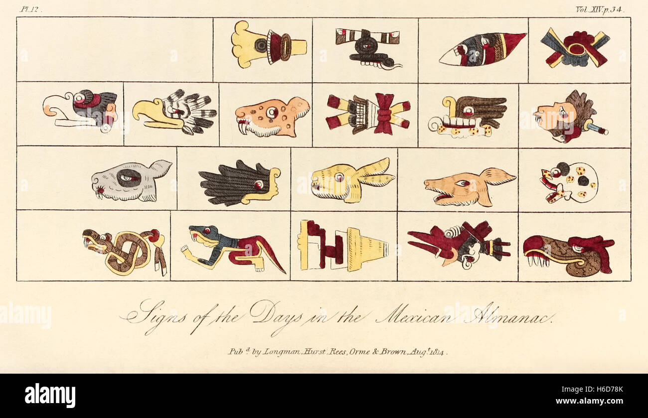 'Signs of the Days in the Mexican Almanac' featuring twenty Mesoamerican hieroglyphics depicting the half lunations - Stock Image