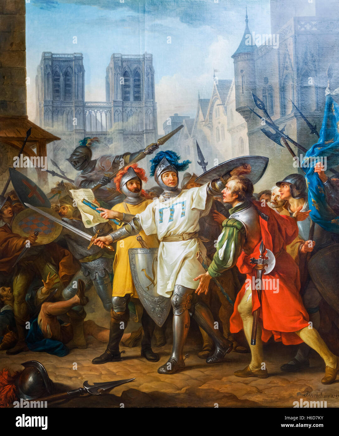 The Retaking of Paris from the English (La Reprise de Paris sur les Anglais) by Jean-Simon Berthelemy, oil on canvas, - Stock Image