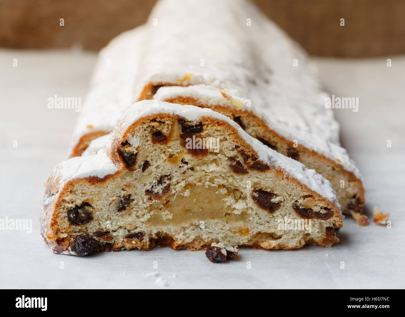 Christmas stollen with marzipan Stock Photo