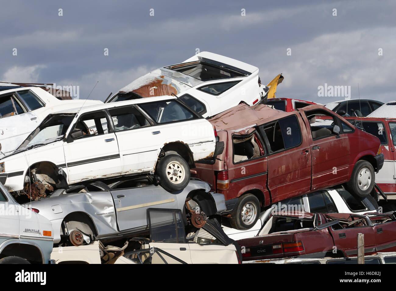 Auto junkyard - Stock Image