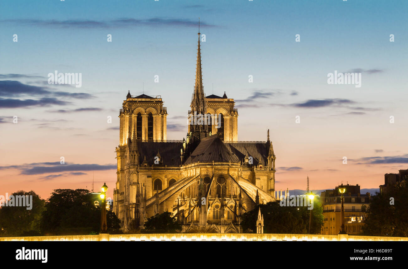 The Notre Dame cathedral is a historical monument , one of the most visited in Paris, considered as one of the finest - Stock Image