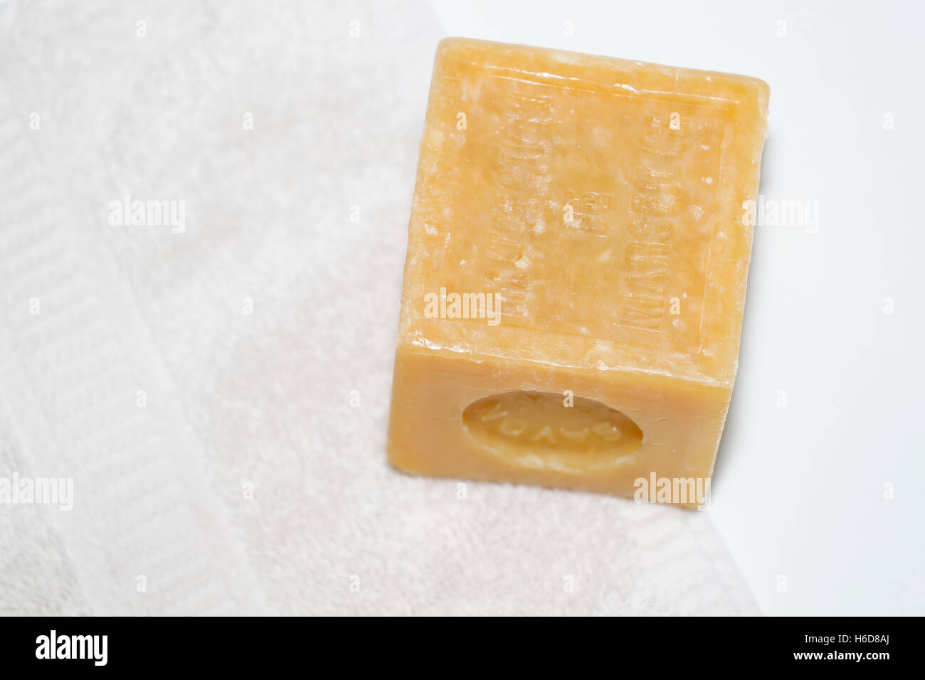 A cube of Marseille soap - Stock Image