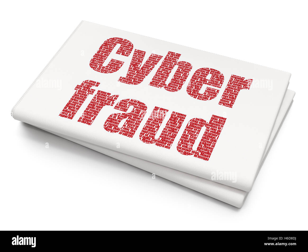 Protection Concept Cyber Fraud On Blank Newspaper Background Stock