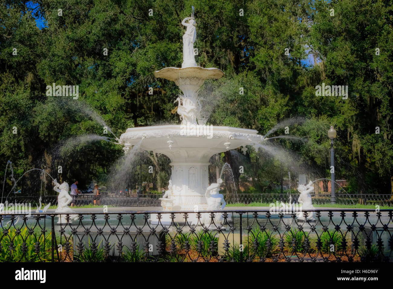 The Parisian inspired and fanciful statuary water fountain landmark in Forsyth Park in historical downtown Savannah, - Stock Image