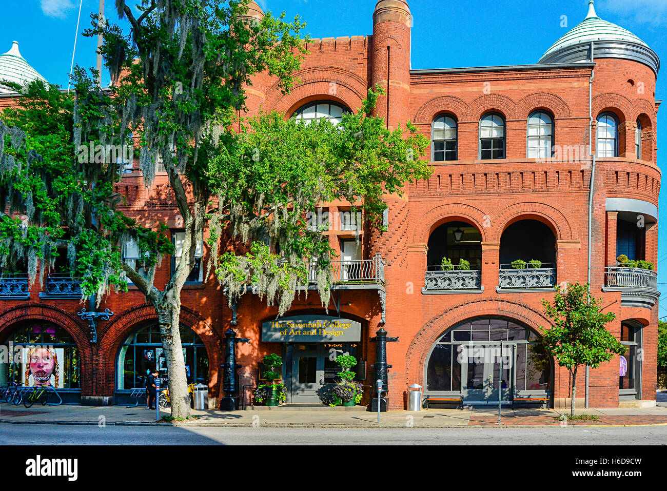 Savannah College of Art and Design's Poetter Hall is a Romanesque revival style structure in historical Savannah, Stock Photo