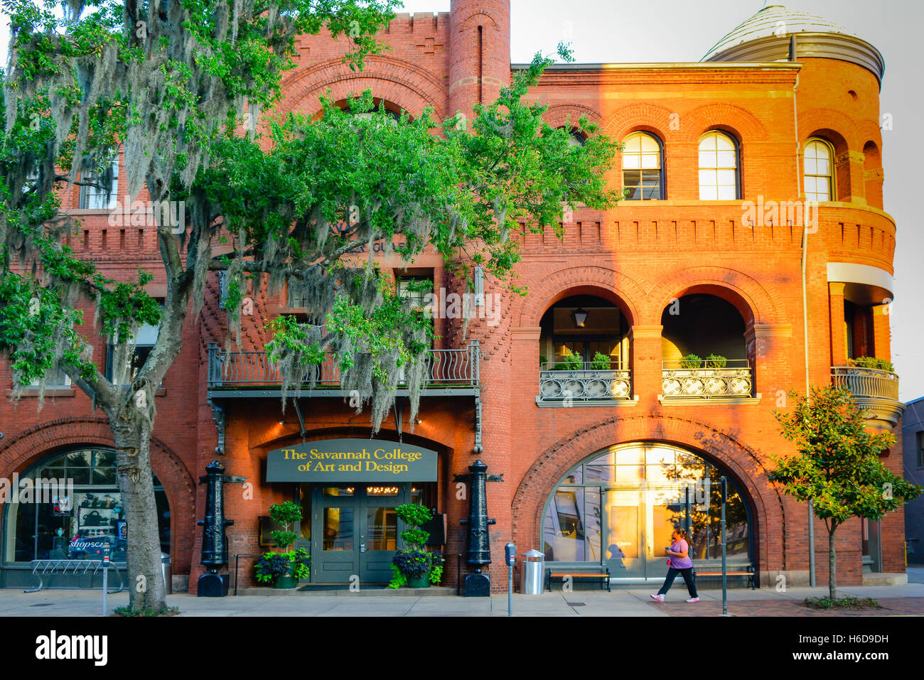 Savannah College of Art and Design's Poetter Hall is a Romanesque revival style structure in historical Savannah, - Stock Image