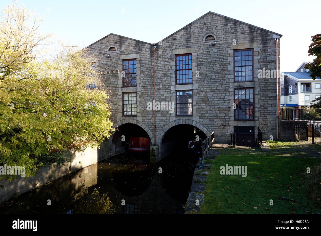 original canal terminus Wigan Pier on the Liverpool Leeds Canal England United Kingdom - Stock Image
