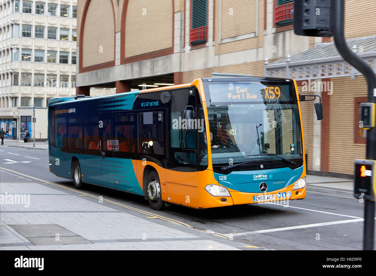 mercedes benz citaro used by Cardiff bus public transport Wales United Kingdom - Stock Image