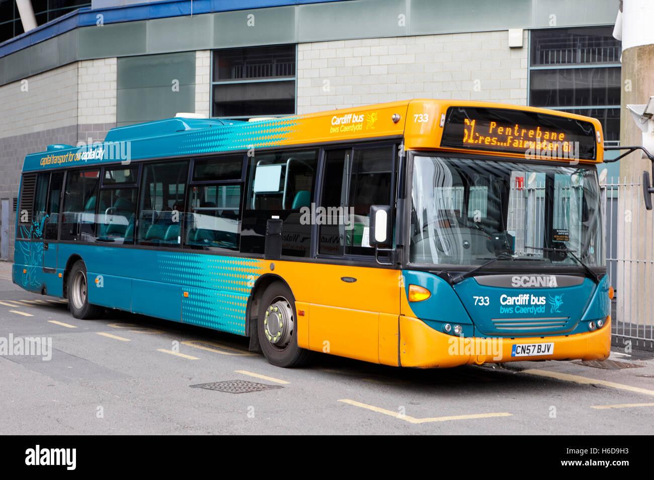 scania Cardiff bus public transport Wales United Kingdom - Stock Image