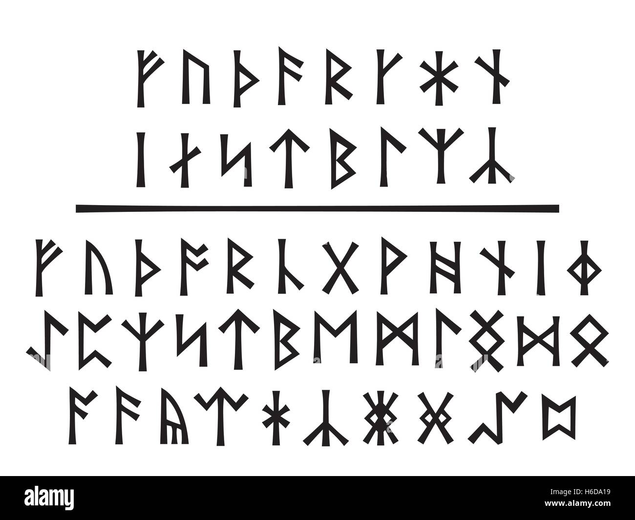 Younger Runes (above) and The Northumbrian Order (below). - Stock Vector
