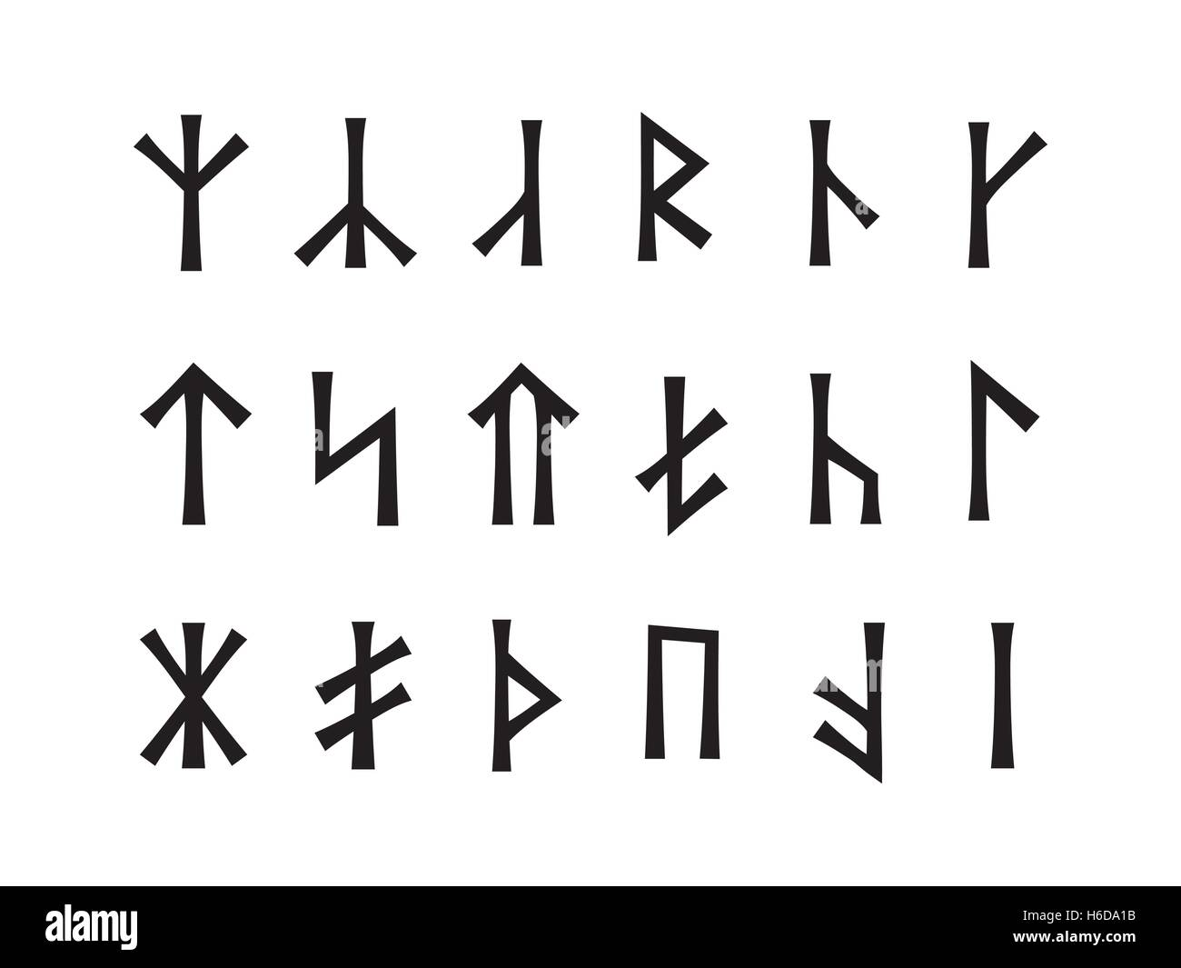 Slavonic Runes of Venethi. Pre-Christian Slavic script (hypothetical writing used before the IX century in Eastern - Stock Image