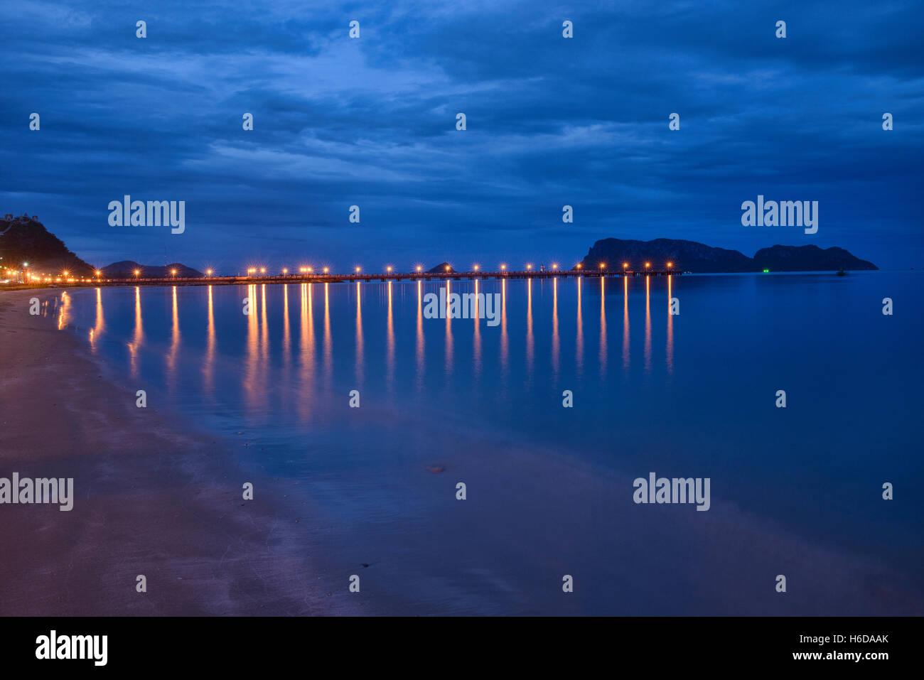 The Gulf of Thailand at blue hour, Prachuap Khiri Khan, Thailand Stock Photo