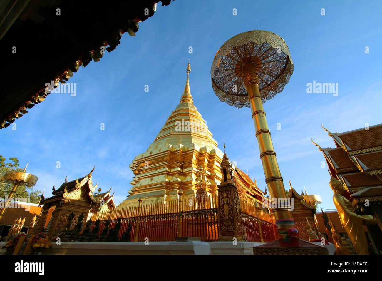 Chiang Mai, Thailand - Jan18, 2016: Wat Phra That Doi Suthep is tourist attraction and popular historical temple - Stock Image
