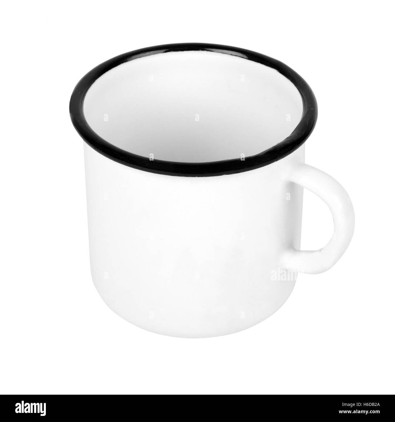 White metal mug isolated on a white background - Stock Image