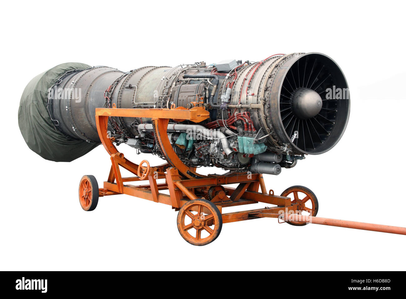 Transportation of the engine of the jet plane Stock Photo