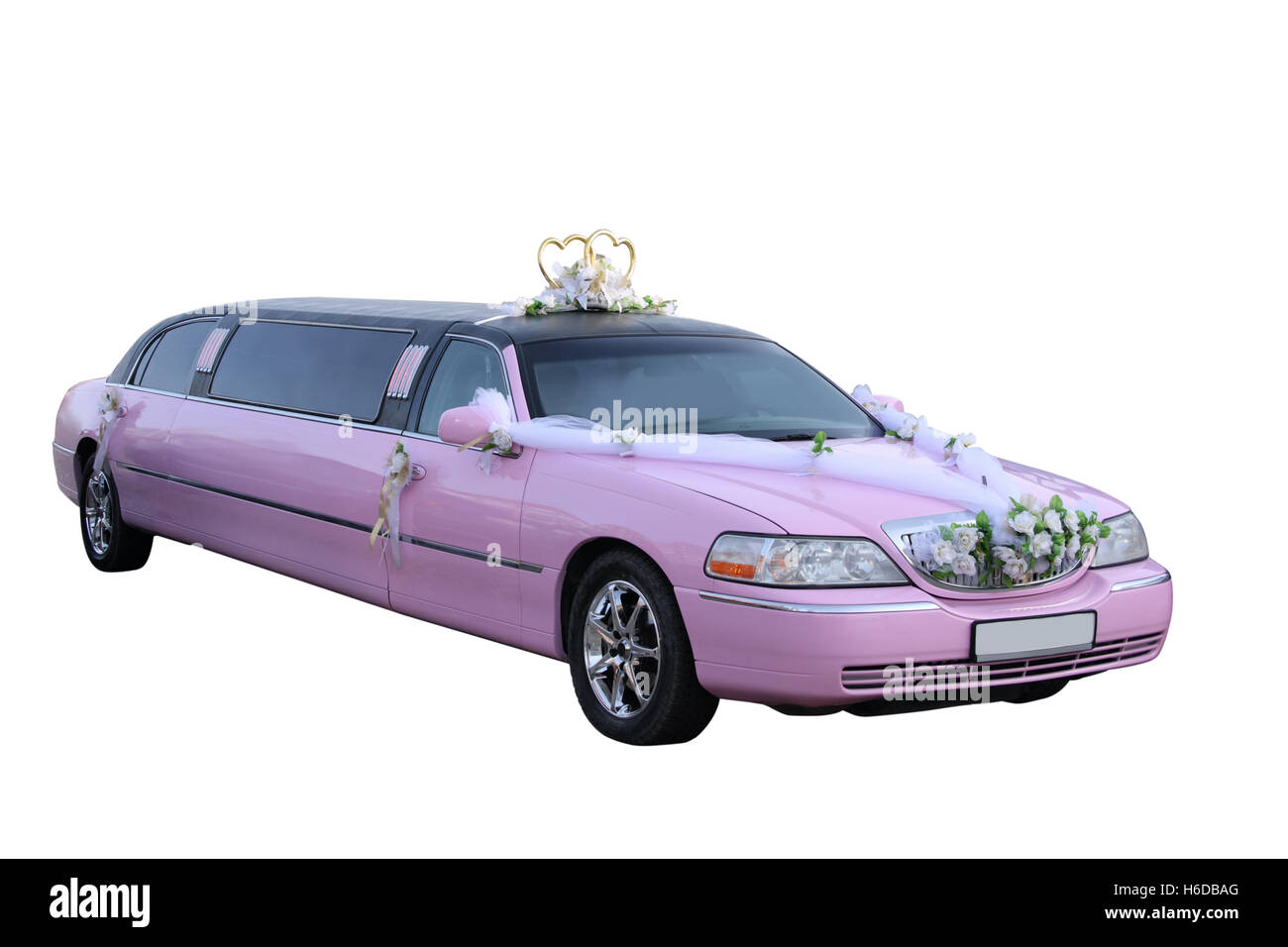 Pink wedding limousine separately on a white background Stock Photo