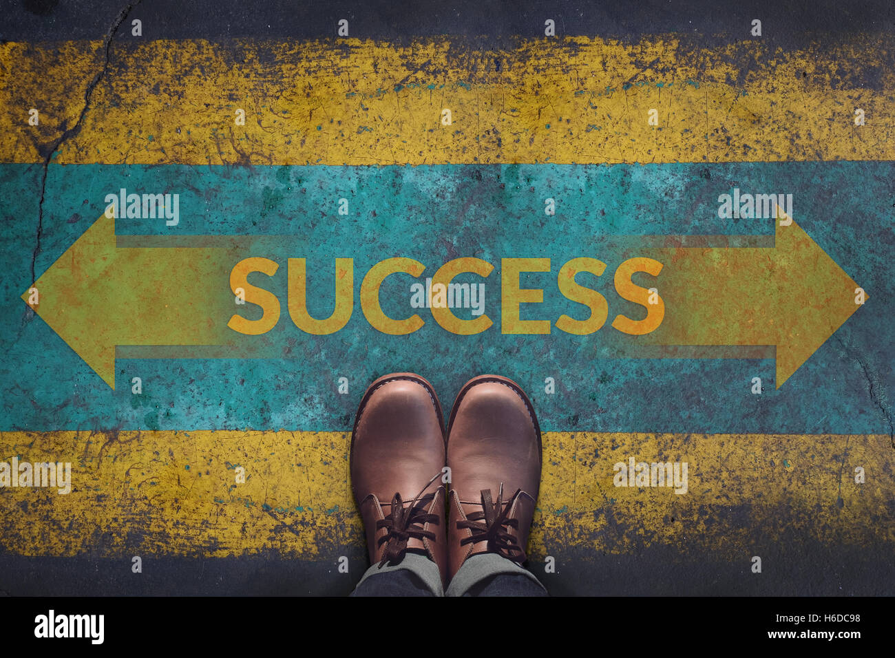 Top view, Male with Leather Shoes, Arrow Sign and word : Success on Grunge Dirty Concrete Floor Background, Making - Stock Image