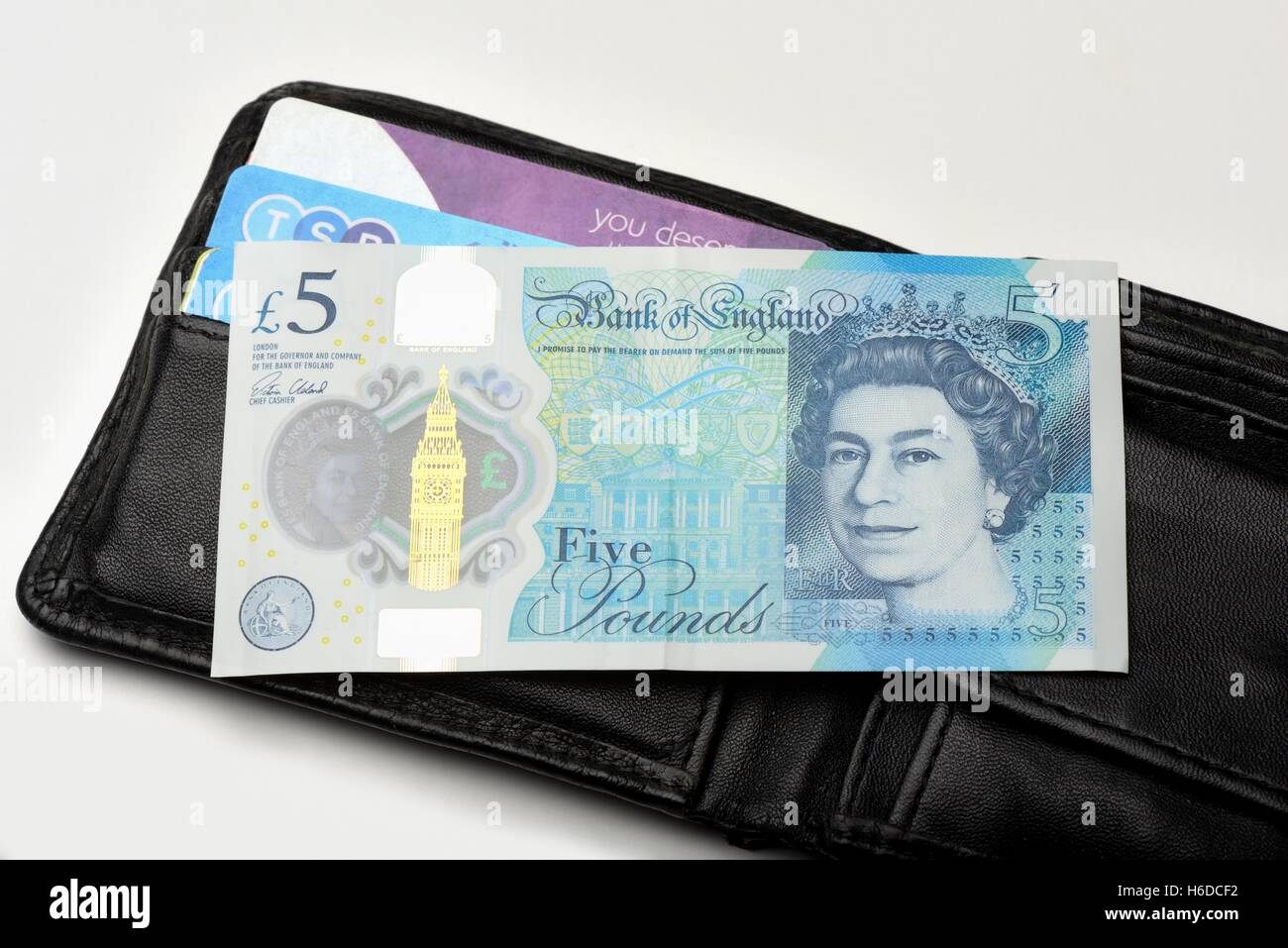 A polymer Bank of England five pound note Stock Photo