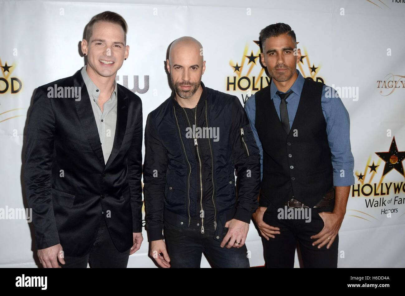 Los Angeles, CA, USA. 25th Oct, 2016. Daughtry member, Chris Daughtry, another Daughtry band member at arrivals - Stock Image