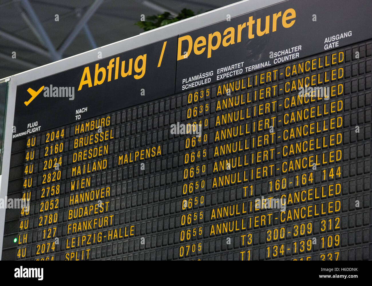 A Display Board Shows Cancelled Eurowings And Germanwings Flights In