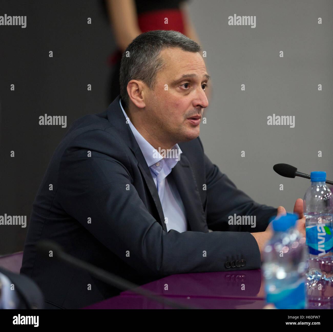 Head coach Dejan radonjic during 2016/2017 Turkish Airlines EuroLeague Regular Season Round 3 Crvena Zvezda mts - Stock Image