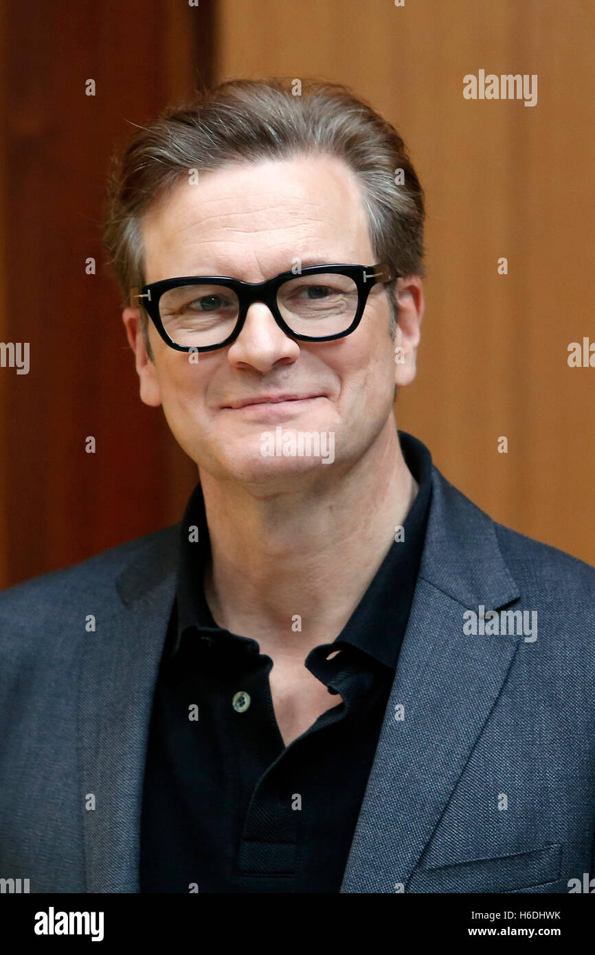 Colin Firth Rome 27th October 2016. Actor Colin Firth guest at the Sapienza University to talk about young people - Stock Image
