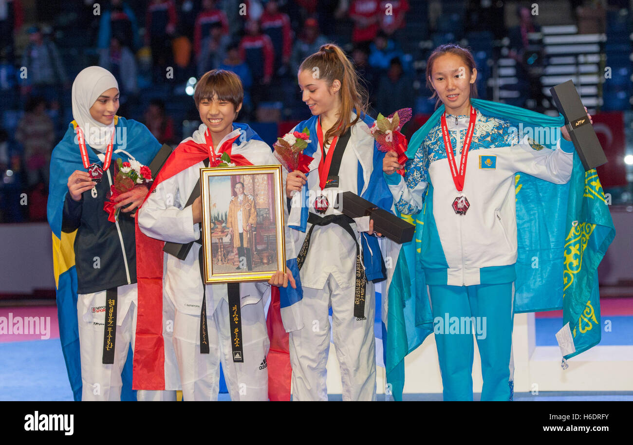Burnaby, Canada. 17 November, 2016. WTF World Taekwondo Junior Championships, Medallists in female 46kg class L - Stock Image