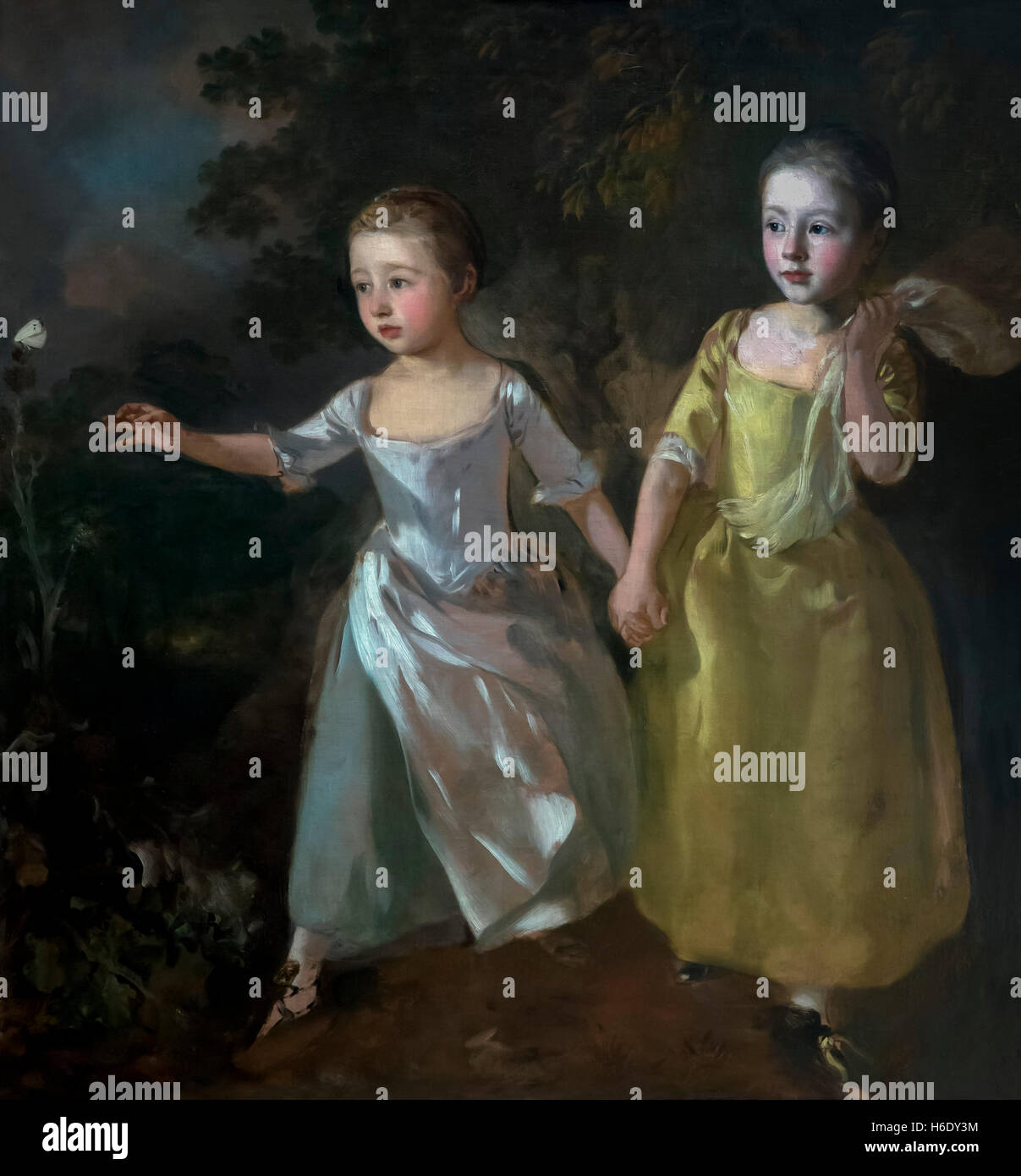The Painter's Daughters chasing a Butterfly by Thomas Gainsborough, circa 1756,  England, UK, GB Europe - Stock Image