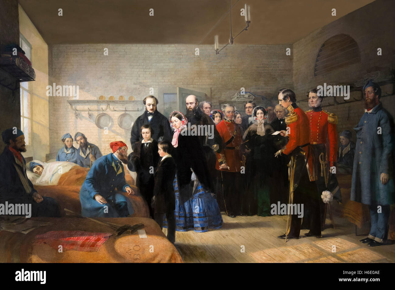Queen Victoria's First Visit to her Wounded Soldiers, by Jerry Barrett, 1856, - Stock Image