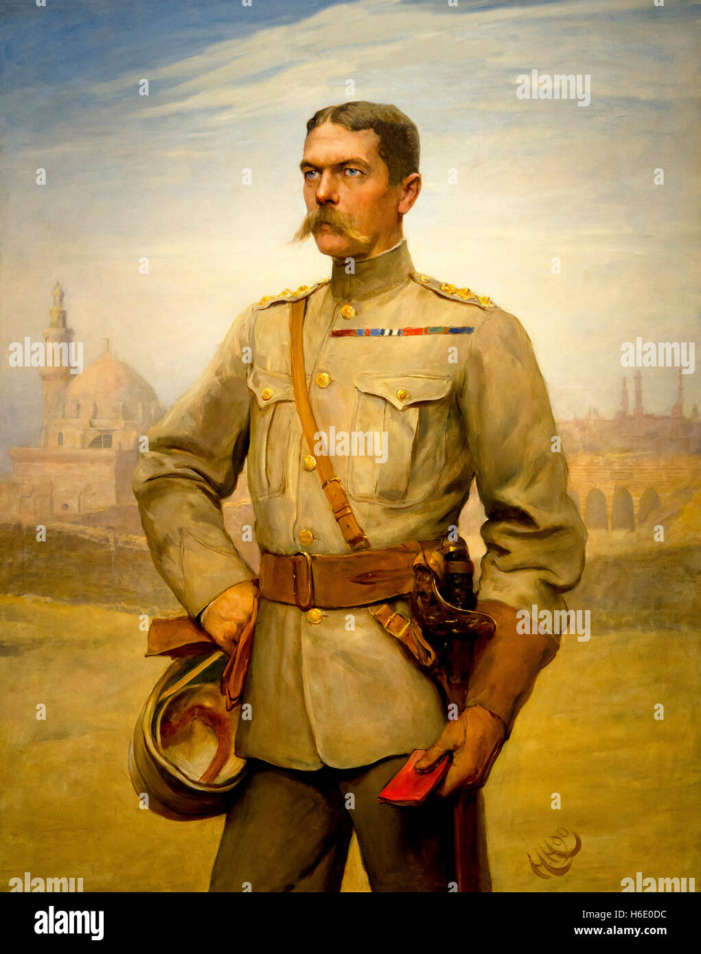Horatio Herbert Kitchener, Secretary of State for War,by Sir Hubert von Herkomer and Frederick Goodall, 1890, - Stock Image