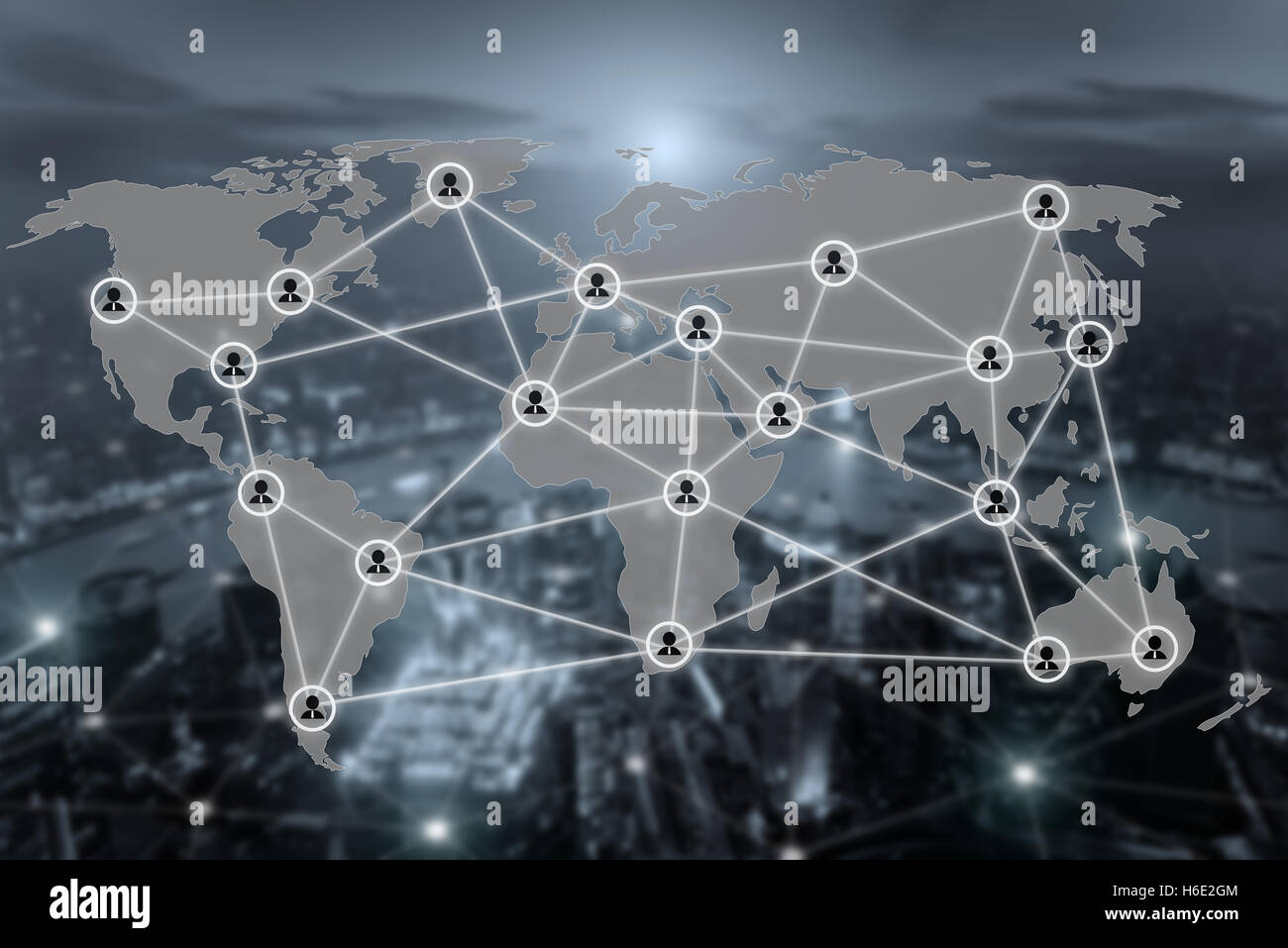 World map and connection social network communication icon with blurr city in background. Social network concept. - Stock Image