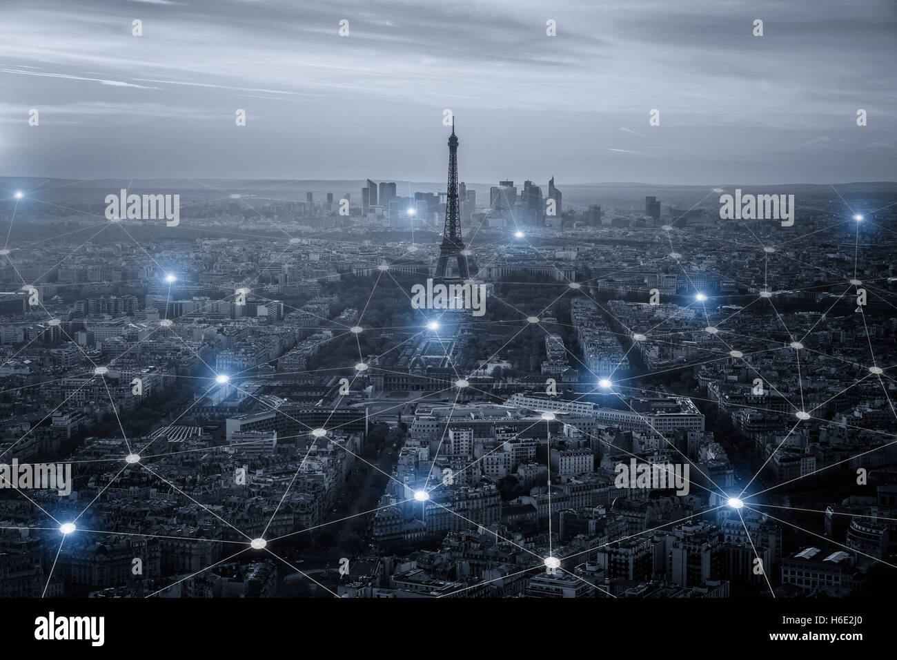 Smart city scape and network connection concept, wireless signal of internet in business city. Internet connection. Stock Photo