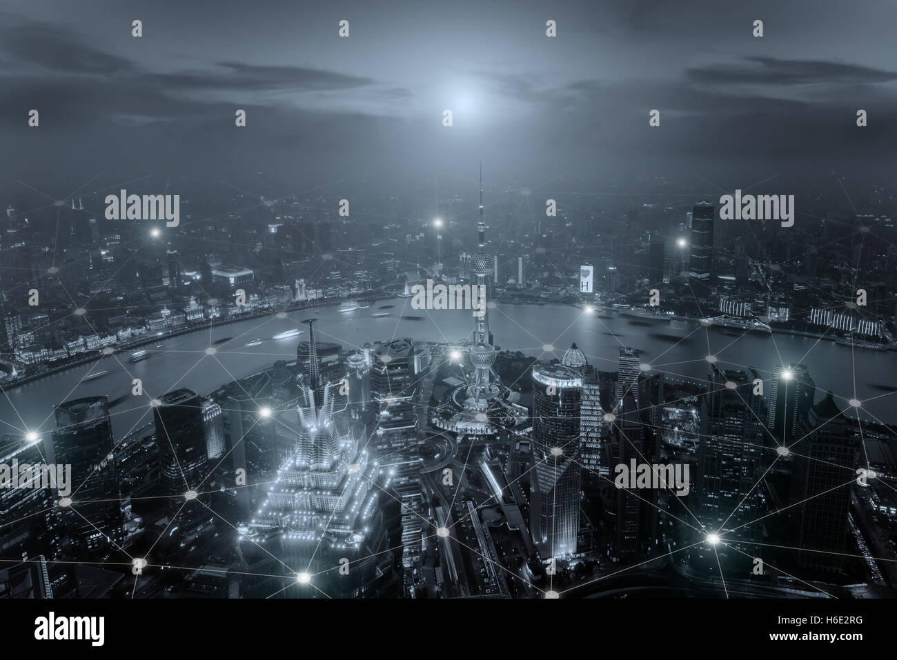 Smart city scape and network connection concept, wireless signal of internet in business city. internet connection.social Stock Photo