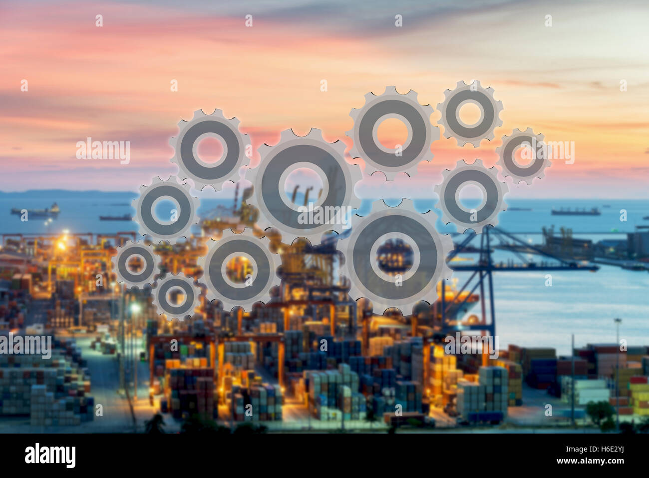 Supply chain connection network management of logistics with cargo container termimal port in background use for - Stock Image