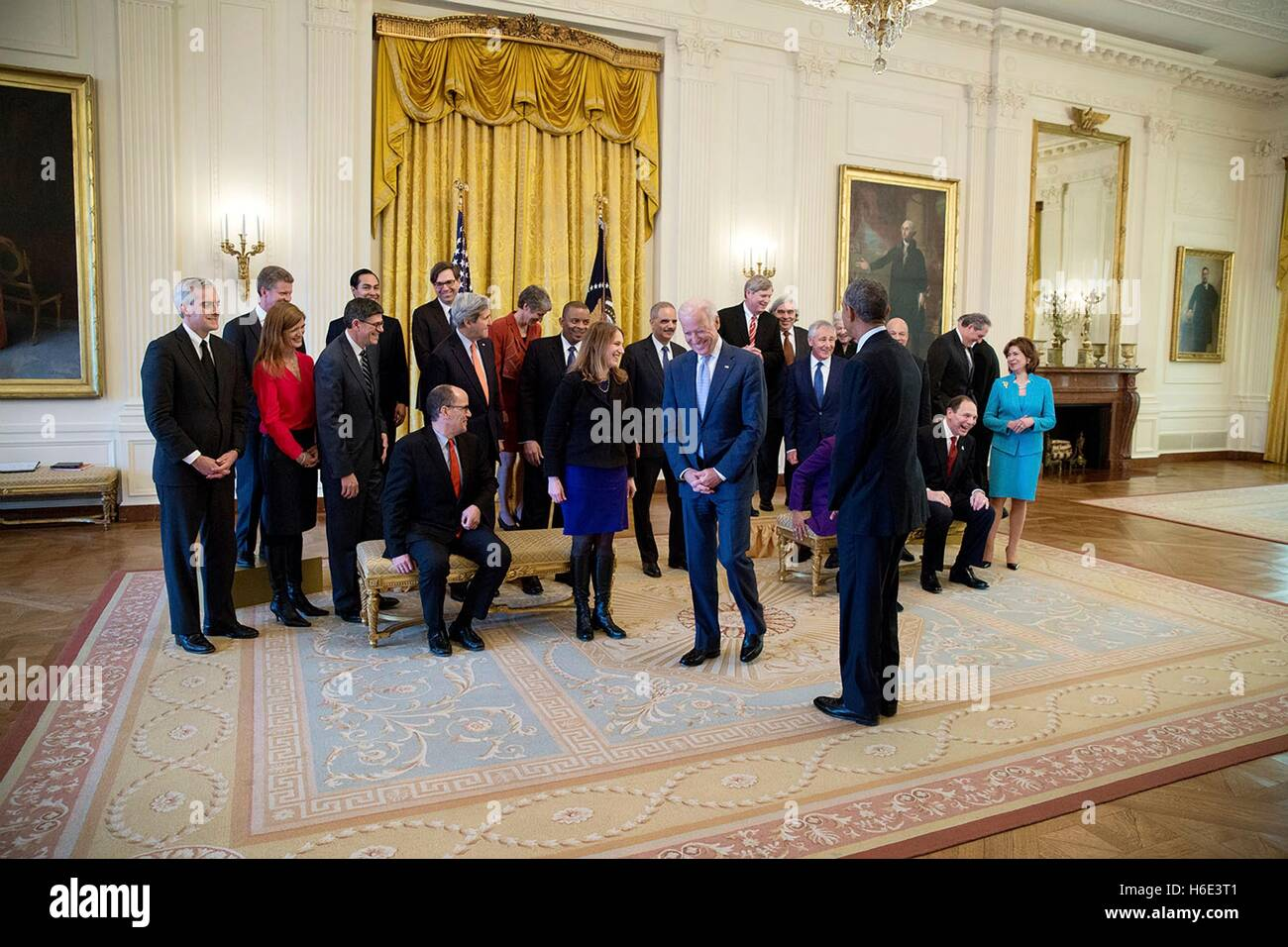 U.S. President Barack Obama and Vice President Joe Biden join the Cabinet for a group photo in the White House East - Stock Image