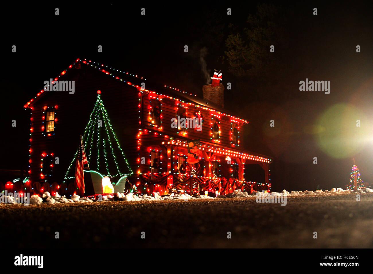 Outside Christmas Lights.Modern Home With Outside Christmas Lights Stock Photos