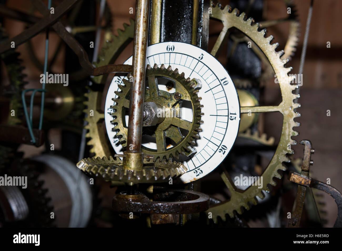 old clockworck with cog wheels - Stock Image