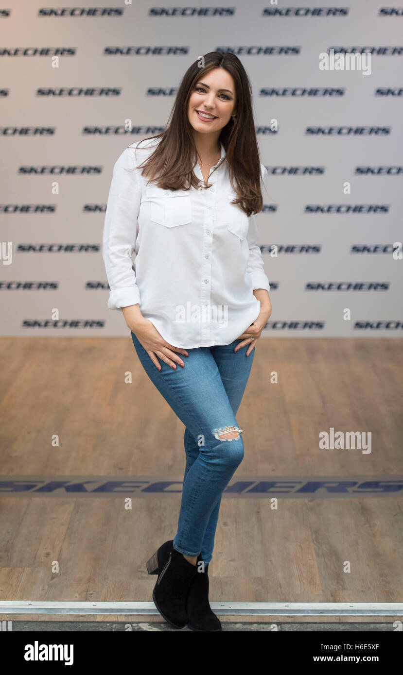 Model Kelly Brook promoting Skechers shoes in Newport, South Wales. - Stock Image