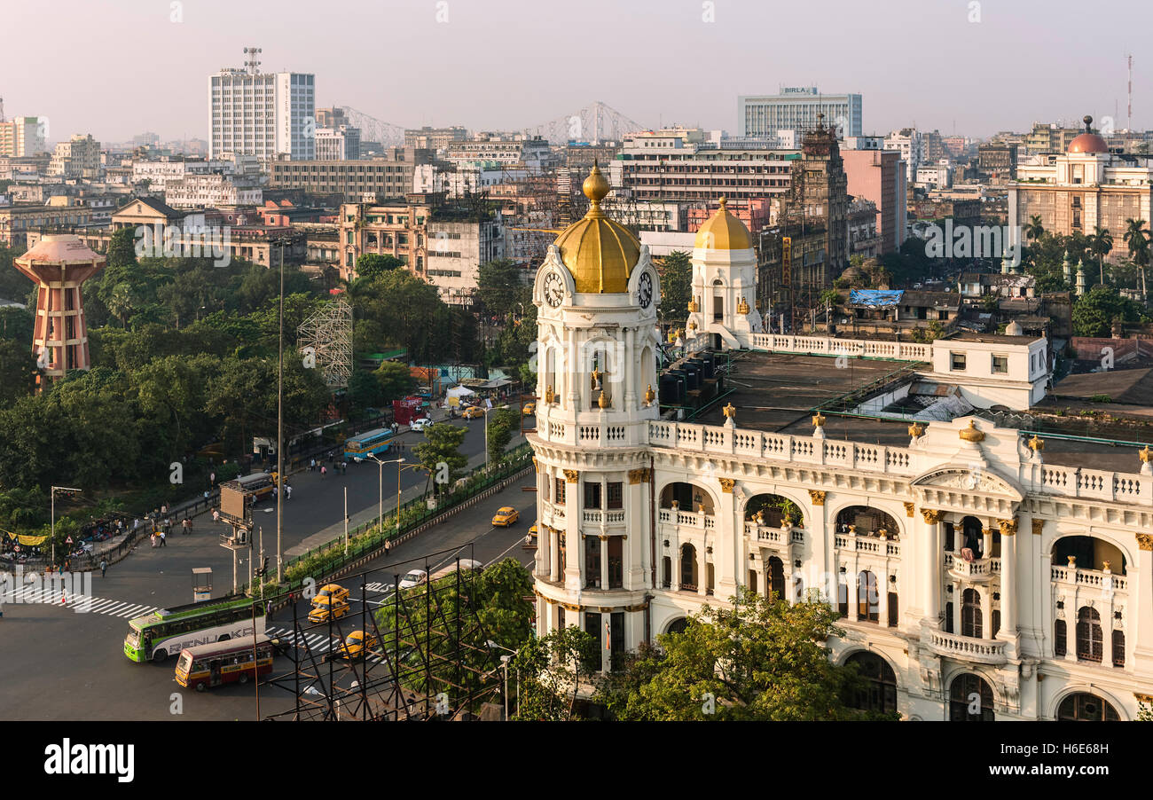 Elevated view of  Kolkata skyline next to Jawaharlal Nehru Road with view of prominent buildings running into the Stock Photo