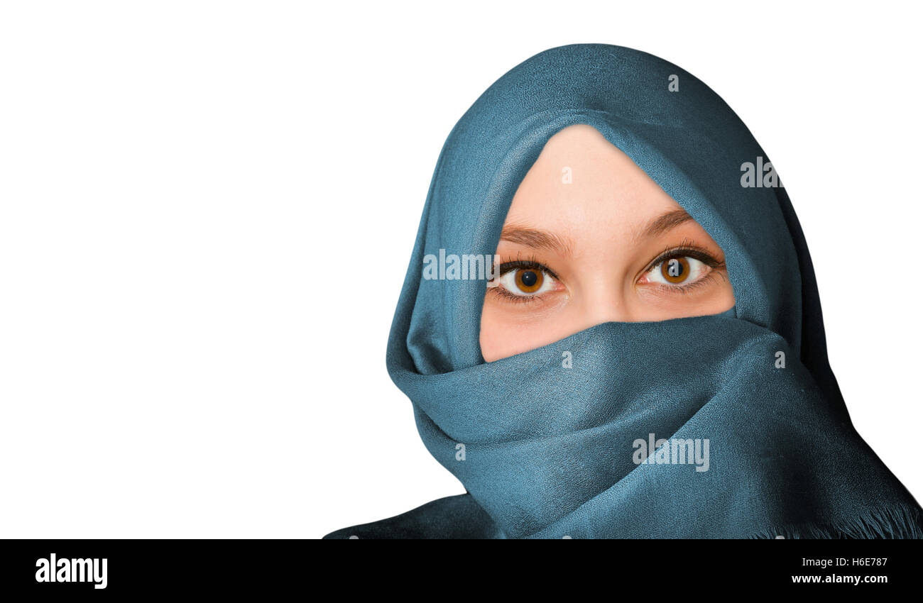 Portrait of young, friendly woman with veil - isolated on white background Stock Photo