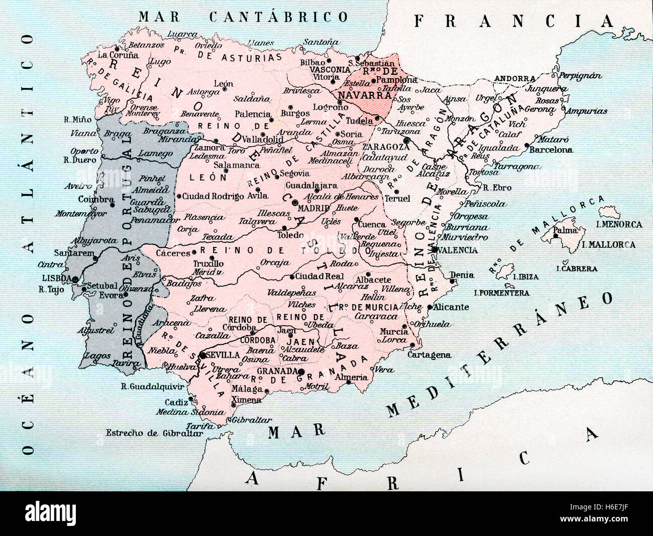 Map of Spain up until the union between Castile and Aragon in 1469.