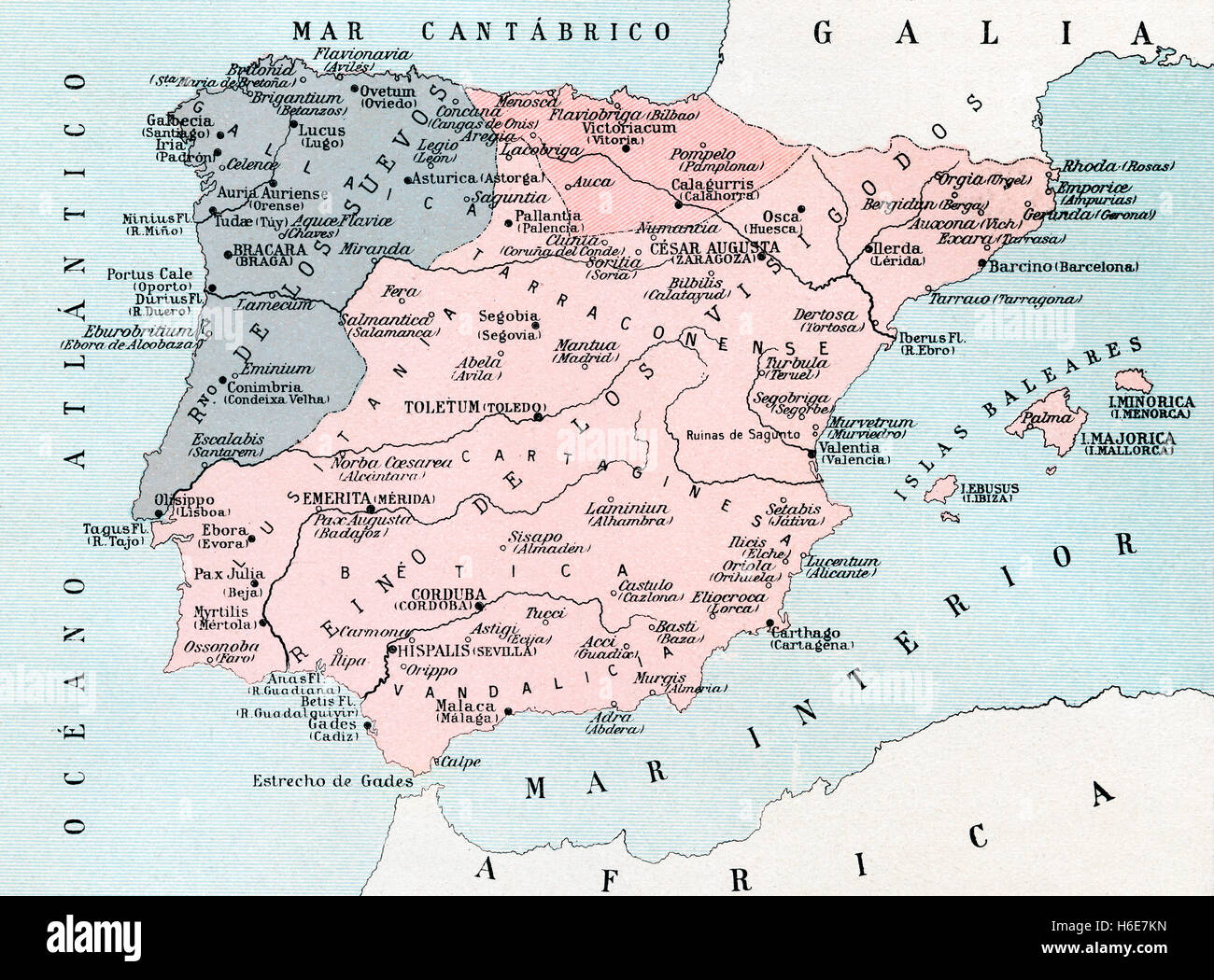 A map of Spain after the invasion of the Visigoths in the 5th century. - Stock Image