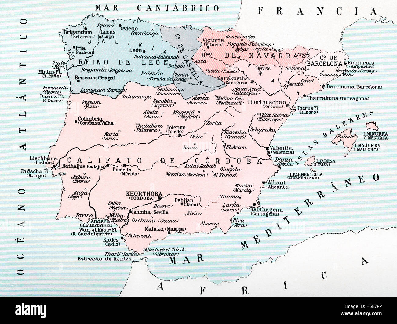 Map of Spain in the middle ages during the Muslim occupation. - Stock Image